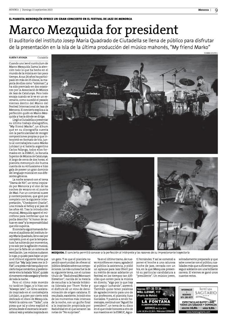 crónica concierto trio Menorca 2013