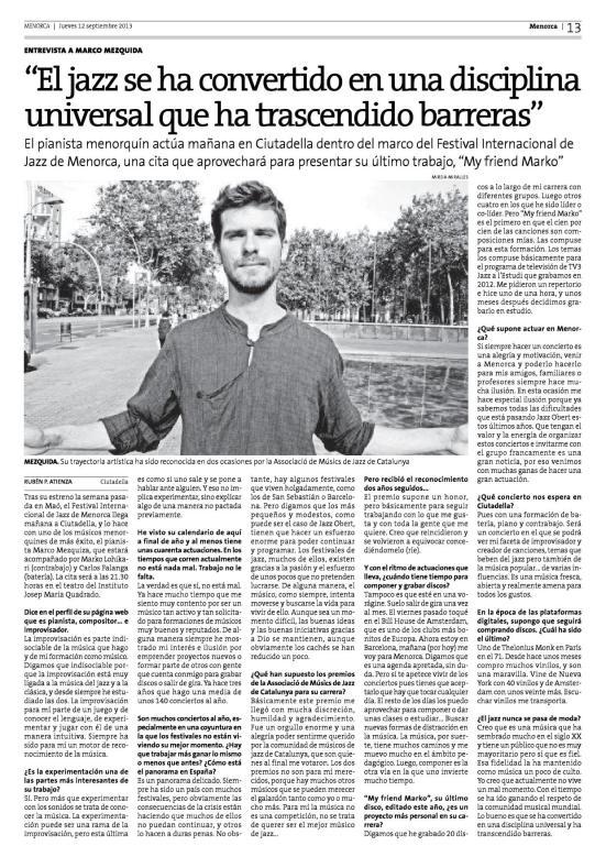 entrevista Marco diario Menorca 2013