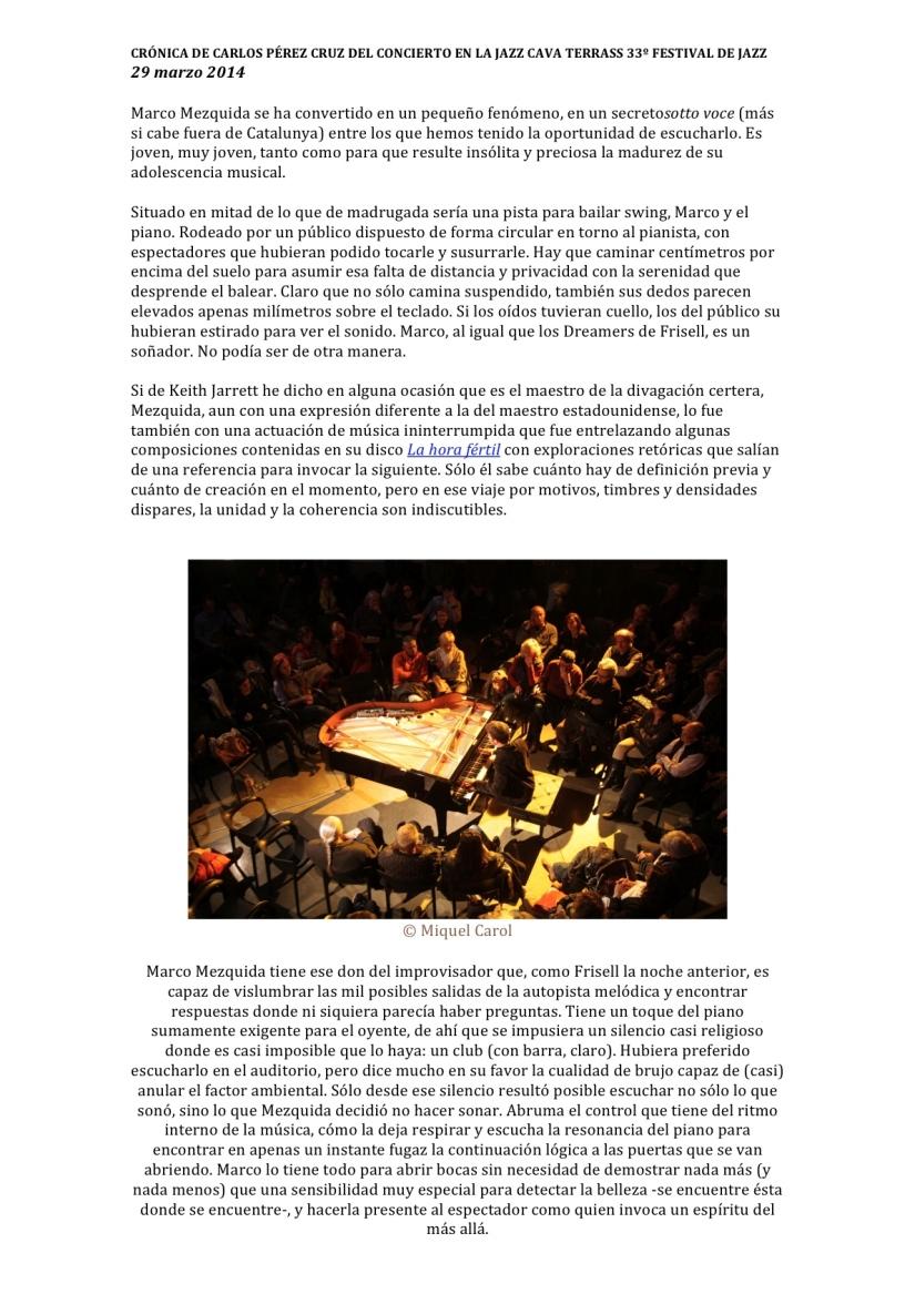 CRÓNICA DE CARLOS PÉREZ CRUZ DEL CONCIERTO EN LA JAZZ CAVA TERRASS 33º FESTIVAL DE JAZZ-1